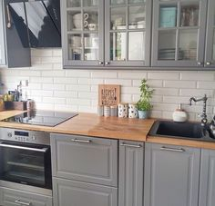 Love the color of this butcher block on the grey cabinets Kitchen Dinning, Ikea Kitchen, Kitchen Redo, Kitchen Interior, Kitchen Remodel, Grey Kitchen Cabinets, Kitchen Cabinet Design, Kitchen Colors, Home Kitchens