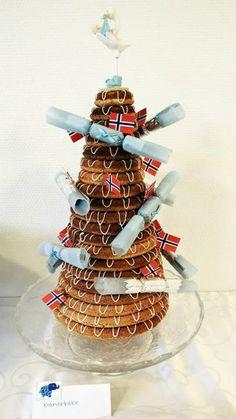 Snekkerfrue: Kransekake hører med! Christening Party, Boy Baptism, Birthday Candles, Candy, Christmas Ornaments, Holiday Decor, Diy, Inspiration, Ideas