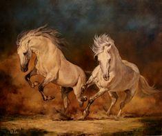 холст,масло 50х60 левая лошадь написана по фото slavik,правая по фото Светланы Голубенко. Автор: ul(Юлия Лычагина)