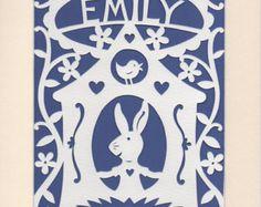 Baby Name Art Personalised Papercut Handcut by GeraldHawksley