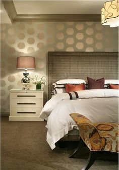 Bedroom ~ Elegant contemporary with muted palette.  Amazing wall covering.  Cleverly conceived and very chic.