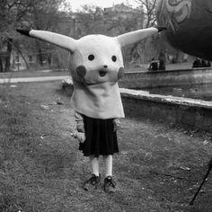pikachu, black and white, and pokemon image Animal Head Masks, Animal Heads, Creepy Art, Scary, Creepy Animals, Creepy Vintage, The Rocky Horror Picture Show, Arte Horror, Portrait Photo