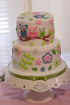 Owl Cake-- I wanna make this!