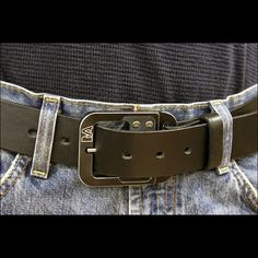 """You could be looking good with this  Classic buckle made from aluminum, anodized black, with a genuine leather belt. Use promo code """"Classic 15"""" and get 15% off ANYTHING in the Classic Collection."""
