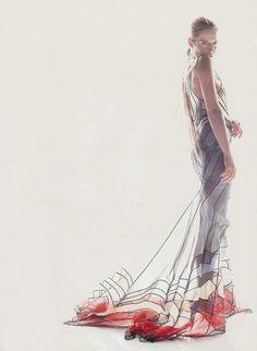 """""""In Fine Form"""", ELLE US, April 1999 Photographer: Gilles Bensimon Model: Annie Morton"""