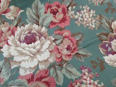 7.5 yards WAVERLY Mill Vtg Decorator Fabric Upholstery Teal Blue Pink Rose Cloth #Waverly