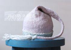 Knit baby hat Newborn Knit Hat Elf Nightcap Baby with Tassel Light by yippyyarns, $30.00 newborn photography prop