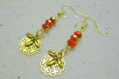 Lacey Filigree Holly Berry Earrings, Christmas Earrings