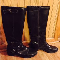 Chaps dark chocolate brown riding boots size 8.5 Chaps dark chocolate brown riding boots size 8.5; in good pre loved condition. 16 inch Tall Boots with Side Zipper and Stretch panel at top. One inch heel. All Man-made Materials. Soles & Heels have Non-Skid-Resistance Tread. Soft Cushioned footbed, Flexible soles make them extremely comfortable ❤️️ Chaps Shoes