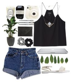 // below by unicornskitkat on Polyvore featuring Monki, Old Navy, Carré Royal, Pamela Love, Berry, Diptyque, Cassia, Ethan Allen, Simmons and Polaroid