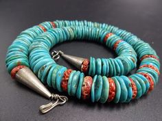 Vintage KEWA Sterling Silver SPONGE CORAL & TURQUOISE Disc Bead NECKLACE