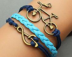 Bicycle Bracelet and Music Note Charm Bracelet,handmade bracelet ,diy leather bracelte only $2.99 shop at Favorwe.com