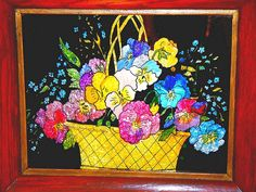 American Folk art tinsel (reverse on glass painting) Very vibrant colorful method of reverse on glass painting- foil shows thru on the painted transparent glass to give it a sparkly effect- which is actually scrunched foil.  These were done as a form