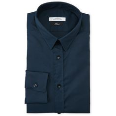 Versace Collection Navy Trend Fit Dress Shirt (4.010 RUB) ❤ liked on Polyvore featuring men's fashion, men's clothing, men's shirts, men's dress shirts, blue, mens long sleeve dress shirts, mens long sleeve button down shirts, mens dress shirts, mens slim fit dress shirts and mens woven shirts