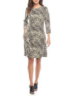 Nine West TanBlack Leopard Printed Shift Dress