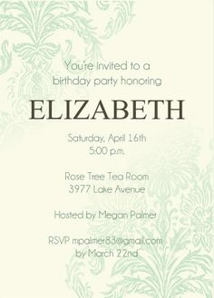 Vintage Damask Adult Birthday Party Invitations