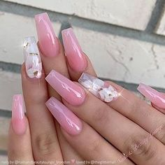 TheGlitterNail Get inspired! on Glossy Pink with White Blossom Accents on Coffin Nails Nail Artist: nailsandbeautylounge_brandon them for more gorgeous Cute Acrylic Nails, Cute Nails, Pretty Nails, Pink Acrylic Nail Designs, Light Pink Acrylic Nails, Pastel Pink Nails, Pink Acrylics, Glam Nails, My Nails