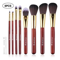 Set de 8 pinceaux de maquillage professionnels avec pinceau Kabuki et pinceaux pour appliquer le fond de teint, votre eye-liner, votre…