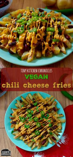 Vegan chili cheese fries recipe by TinyKitchenChronicles Vegan Foods, Vegan Snacks, Vegan Appetizers, Vegan Meals, Vegan Baked Potato, Chili Cheese Fries, Vegetarian Recipes, Cooking Recipes, Cheese Recipes