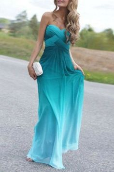 Sky Blue Bandeau Gradient Fashion Maxi Dress