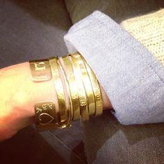 "Aurélie Bidermann wearing the Gold engraved ""Esclave"" Bracelet Bling Jewelry, Beaded Jewelry, Jewelry Box, Jewelery, Jewelry Accessories, Aurelie Bidermann, Glitz And Glam, Cartier Love Bracelet, Things To Buy"