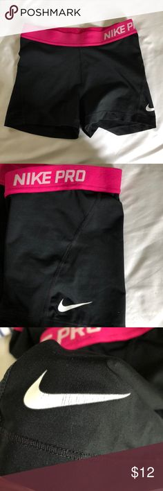 Nike Pro Black Spandex Wore these during track races, they are light and comfy to run in! The Nike logo is cracking a bit, which is why the price is so low! ✨Bundle this with another Nike product and get it 50% off✨ Price can be bargained!😊 Nike Shorts