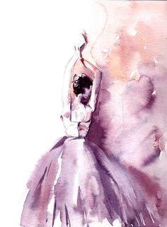 Pittura dellacquerello della ballerina Acquarello originale Ballerina in viola Balletto moderno acquerello arte  Uno di unopera darte gentile  Scala: 9x11.5 cm (23x29cm) Medio: top marca pitture ad acquerello su carta di Canson acqua colore freddo premere 140 lb (300g)  Firmato davanti e dietro Datato sul retro. Non incorniciato.  Tutti i quadri sono regalo avvolto in un cellophane insert e il supporto di cartone per proteggere al meglio, spediti tramite posta di internazionale registrato…