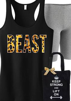Bring the #BEAST out in your #Workout with this tank top and tote DEAL! On Sale for only $33.36, click here to buy http://nobullwoman-apparel.com/collections/sale-special-deals/products/beast-leopard-workout-tank-and-tote-workout