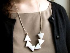 White Triangles Porcelain Hemp Necklace by cla contemporary
