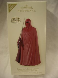 Hallmark Ornament Emperor's Royal Guard Star Wars: Return of the Jedi ~ Dated 2008. Retailed for $15 and released in very limited quantities.  Asking $20.  Seen on Ebay for much more.  It is mint in box so it would be a great gift for a Star Wars Fan.