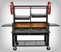 "Santa Maria 48"" w/Fire Brick, Grill Head, Firebox & Cart, Double Door, Double Grate - Item #3601-48DSPLCRT Commercial"