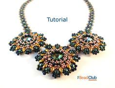 Beaded Necklace Patterns - Right Angle Weave - Rivoli Necklace - Beading Tutorials and Patterns - Beadweaving Tutorial - Sunflower Necklace by TheBeadClubLounge on Etsy