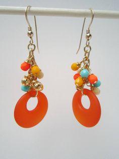 Orange Recycled Glass Cluster Earrings