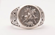 Saint George Ring -  Sovereign Ring - Sterling Silver 925 - Signet Mens Jewlelry  DanelianJewelry on Etsy.com - handmade goldsmith manufactured jewelry