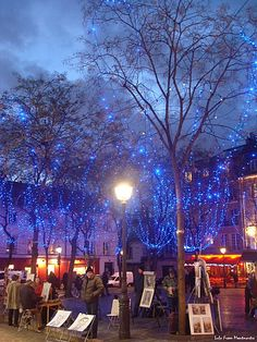Twilight at Place du Tertre (Montmartre), Paris.France - Moment captured after New Years night. Amazing place in Paris with a lot of street artists, not so cheap dough.