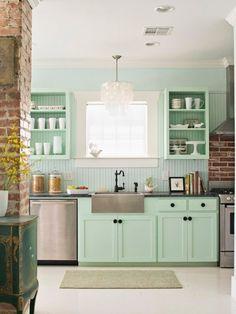 cuisine couleur vert deau exactement le style que jaffectionne en ce - Poubelle De Cuisine Vert Pastel