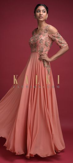 Coral peach indowestern A line gown in georgette with silk blend bodice. Adorned with zari and zardozi embroidered floral jaal pattern on the bodice. Anarkali, Lehenga, Shoulder Sleeve, Cold Shoulder, A Line Gown, Indian Wear, Salwar Kameez, Half Sleeves, Bodice
