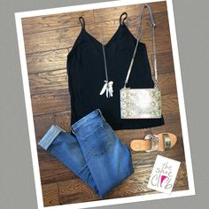Love this subdued outfit with our best seller skinny Jeans  the combination of the bag and sandals is just perfect ❤️ Spring Break here we come!!!  Black Tank $45 Blank NYC No time for dat $88 Chan Luu Necklace $97.50 Dolce Vita Payce Sandal $100 Hammitt Spencer Mimosa Bag $225 ☎️ 210-824-9988