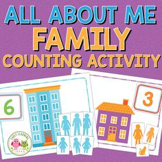 Preschool Family Theme, All About Me Preschool Theme, All About Me Activities, Counting Activities, Preschool Themes, Classroom Activities, Family Activities, Classroom Ideas, Preschool Prep
