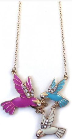 Multicolor Fashion Rhinestone Alloy Birds Pendant Necklace $2.43 Cichic.Com