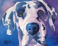 Great Dane Dog Art Signed Print by Ron Krajewski...
