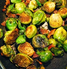Pan-Seared Brussels Sprouts with Truffle Oil and Bacon! #eatyourveggies #sides