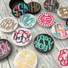We have the cutest Monogrammed Phone Grips! We have Black & White grip... with OR without the Mounting Clip! Or you can just get a decal for the one you already own!!