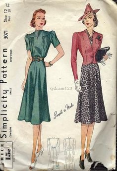 Vintage 1939 Gathered Bodice Flared Dress and by sydcam123 on Etsy, $30.00