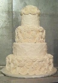 simple buttercream wedding cake  @Whitney Thompson add a little bling and this would be so gorgeous and YOU!