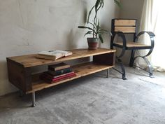 Rustic Industrial Vintage Side Table/ Coffee Table/ TV Stand On Stainless Steel Legs by DerelictDesign on Etsy https://www.etsy.com/listing/241068549/rustic-industrial-vintage-side-table