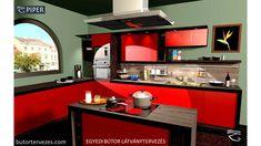 Decor, Furniture, Kitchen Furniture, House, Furniture Plans, Red Kitchen, Home Decor, Kitchen, Kitchen Furniture Design
