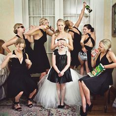 Hahaha! This picture of the bridesmaids, bride, and flower girl is hilarious!