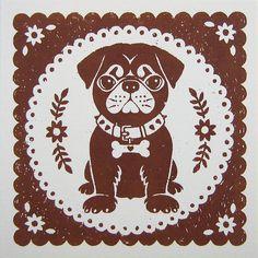 Pug Puppy Art Print by Alexandra Snowdon Paper Cutting, Black Puppy, Pugs And Kisses, Pug Art, Dog Cards, Decorative Pillow Cases, Pug Love, Dog Design, Panda