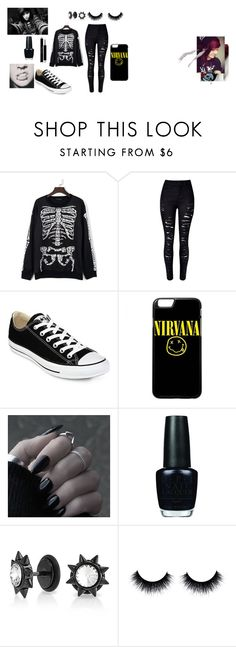 """""""Emo/scene style"""" by obsucreunicorn on Polyvore featuring WithChic, Converse, Albino, OPI, Bling Jewelry and Christian Dior"""